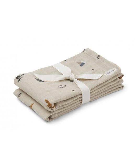 Lewis Muslin Cloth 2 Pack   Arctic mix