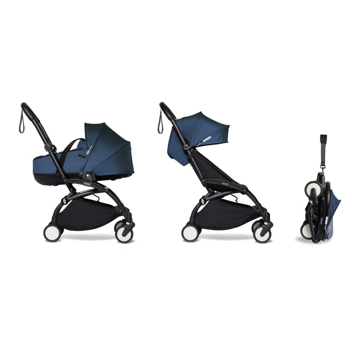 Complete BABYZEN stroller YOYO2 bassinet and 6+ Black Frame | Navy