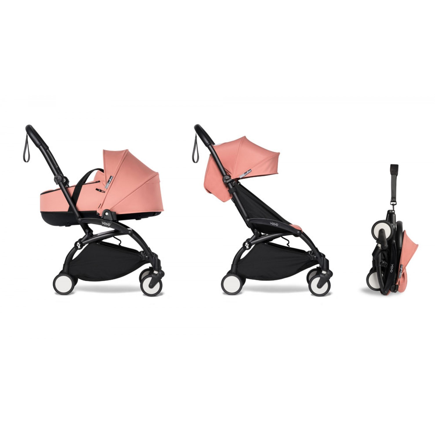 Complete BABYZEN stroller YOYO2 bassinet and 6+ Black Frame | Ginger