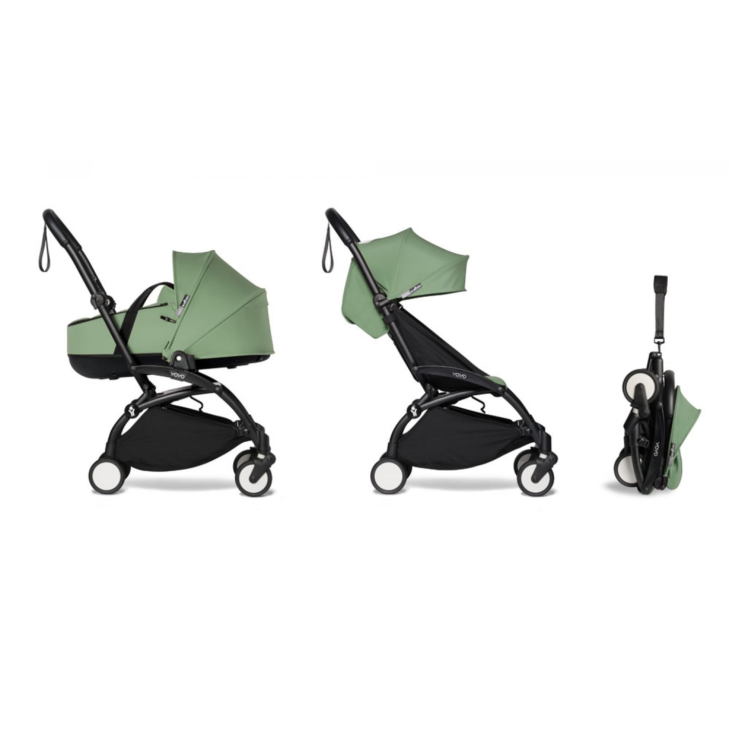 Complete BABYZEN stroller YOYO2 bassinet and 6+ Black Frame | Peppermint