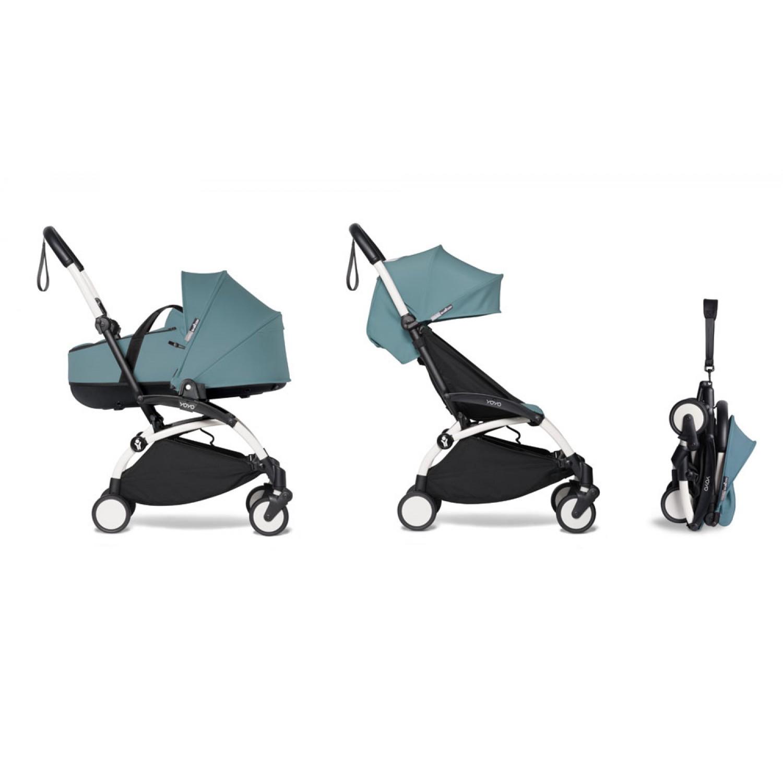 Complete BABYZEN stroller YOYO2 bassinet and 6+ White Frame | Aqua
