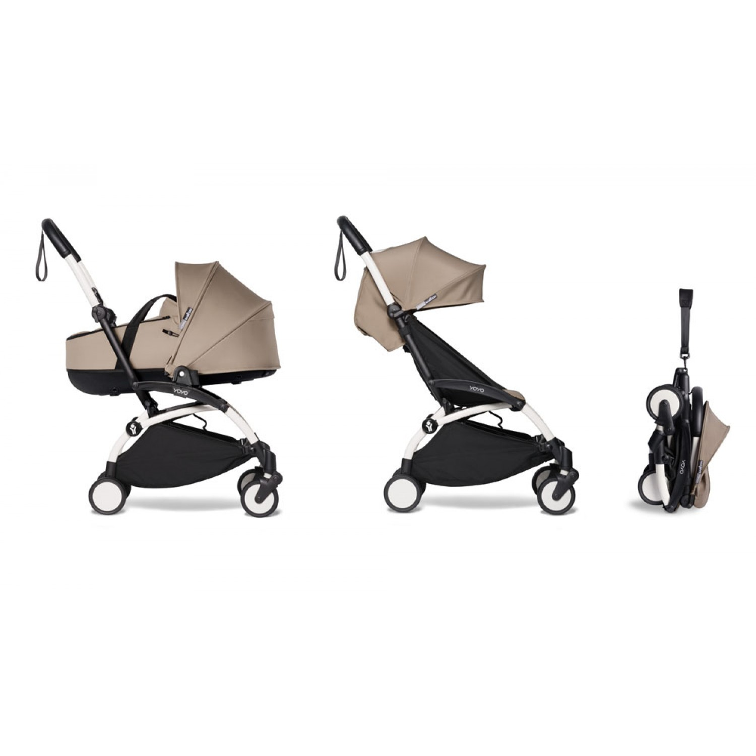 Complete BABYZEN stroller YOYO2 bassinet and 6+ White Frame | Taupe
