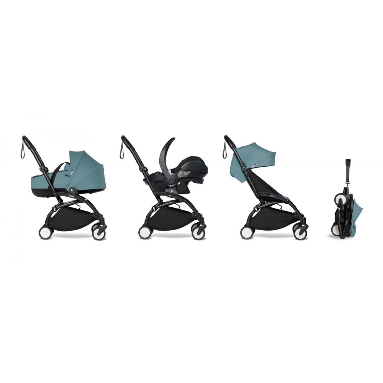 All-in-one BABYZEN stroller YOYO2 bassinet, car seat and 6+  Black Frame | Aqua
