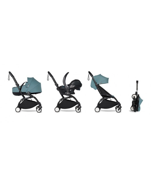 All-in-one BABYZEN stroller YOYO2 bassinet, car seat and 6+  Black Frame | Aqua