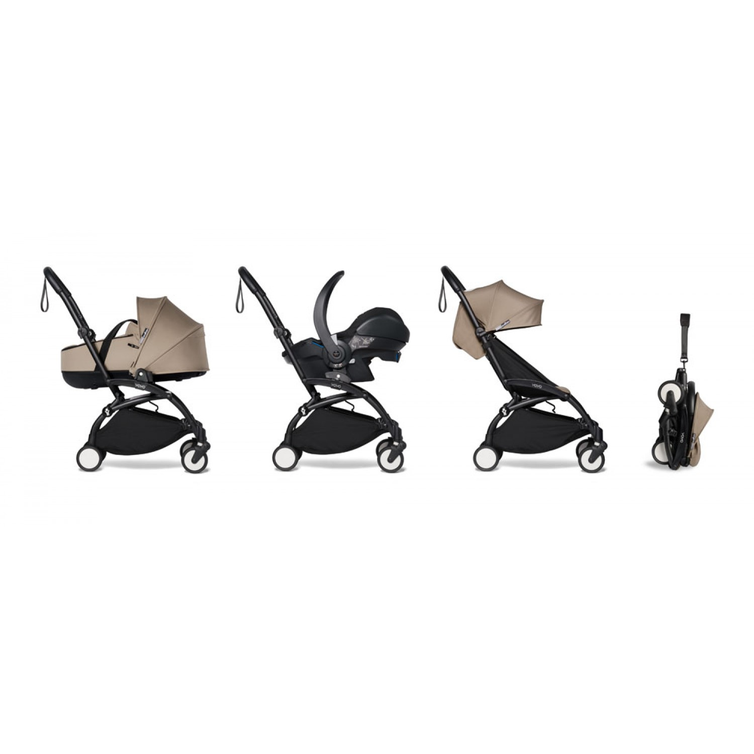 All-in-one BABYZEN stroller YOYO2 bassinet, car seat and 6+  Black Frame   Taupe