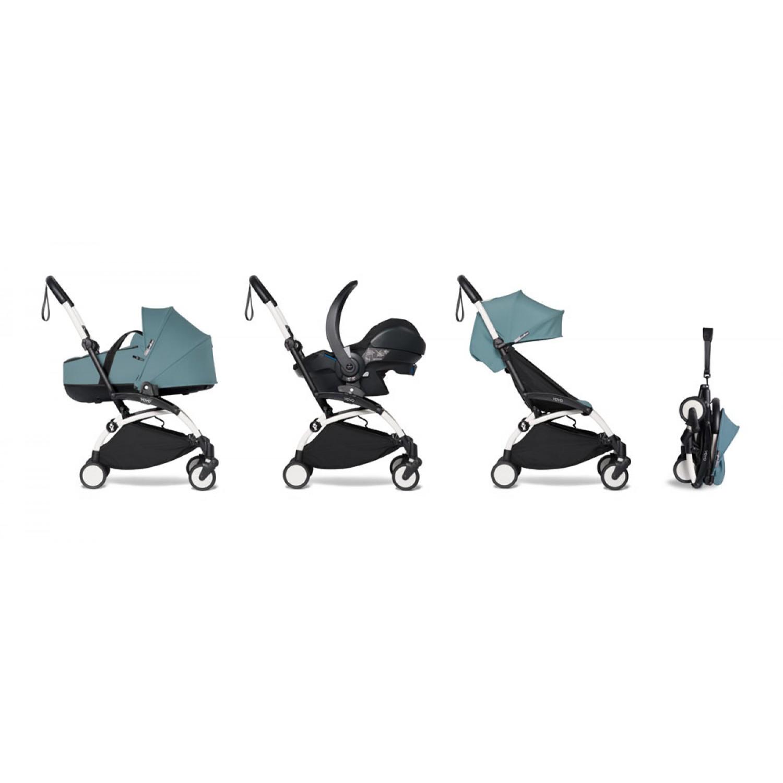 All-in-one BABYZEN stroller YOYO2 bassinet, car seat and 6+  White Frame | Aqua