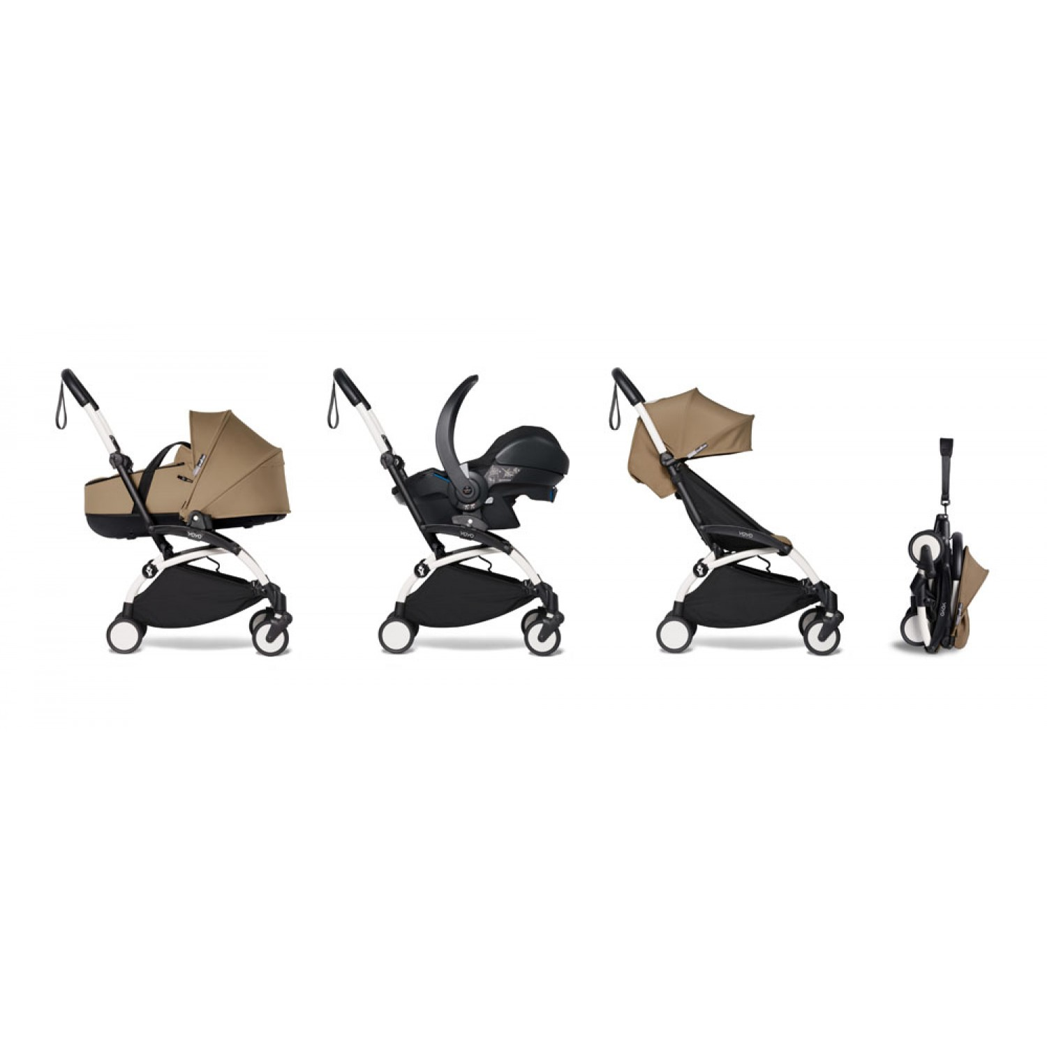 All-in-one BABYZEN stroller YOYO2 bassinet, car seat and 6+  White Frame | Toffee