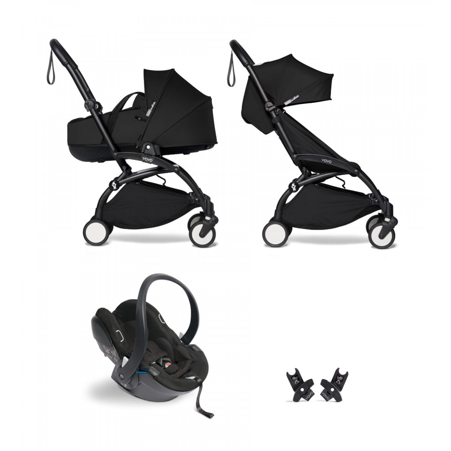 All-in-one BABYZEN stroller YOYO2 bassinet, car seat and 6+  Black Frame | Black