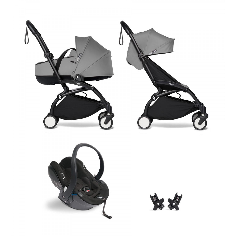 All-in-one BABYZEN stroller YOYO2 bassinet, car seat and 6+  Black Frame | Grey