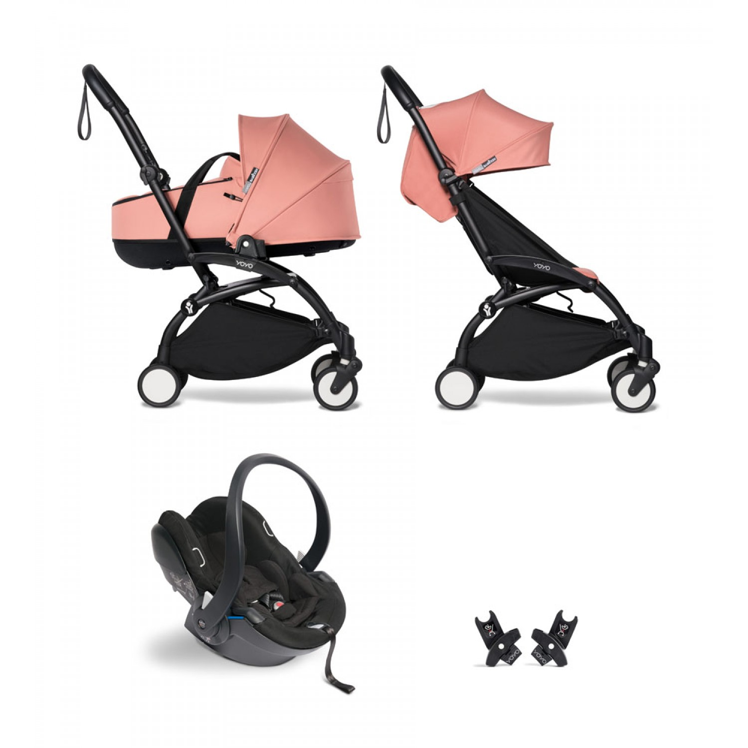 All-in-one BABYZEN stroller YOYO2 bassinet, car seat and 6+  Black Frame | Ginger