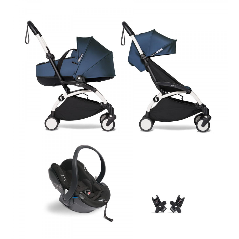 All-in-one BABYZEN stroller YOYO2 bassinet, car seat and 6+  White Frame   Navy