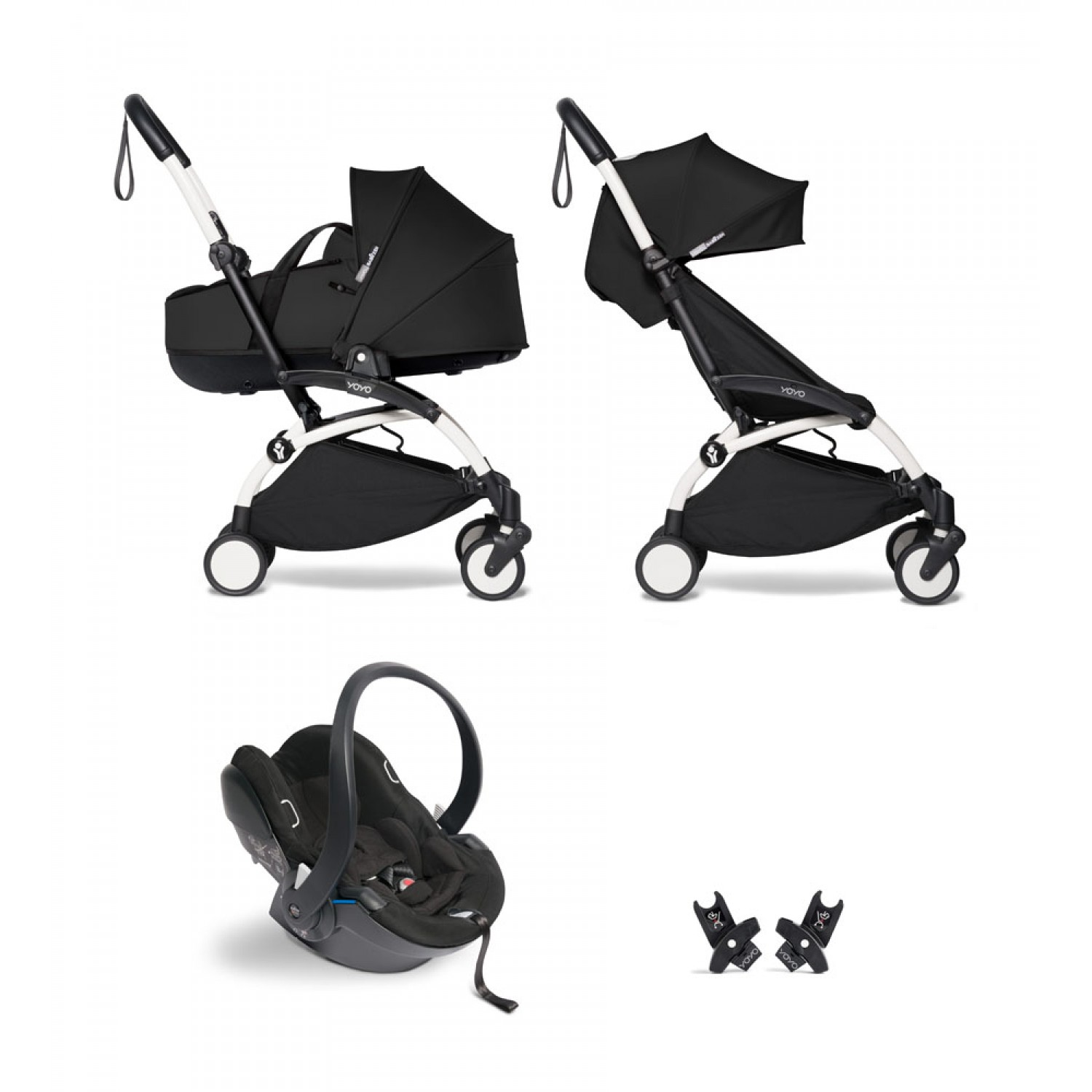 All-in-one BABYZEN stroller YOYO2 bassinet, car seat and 6+  White Frame | Black