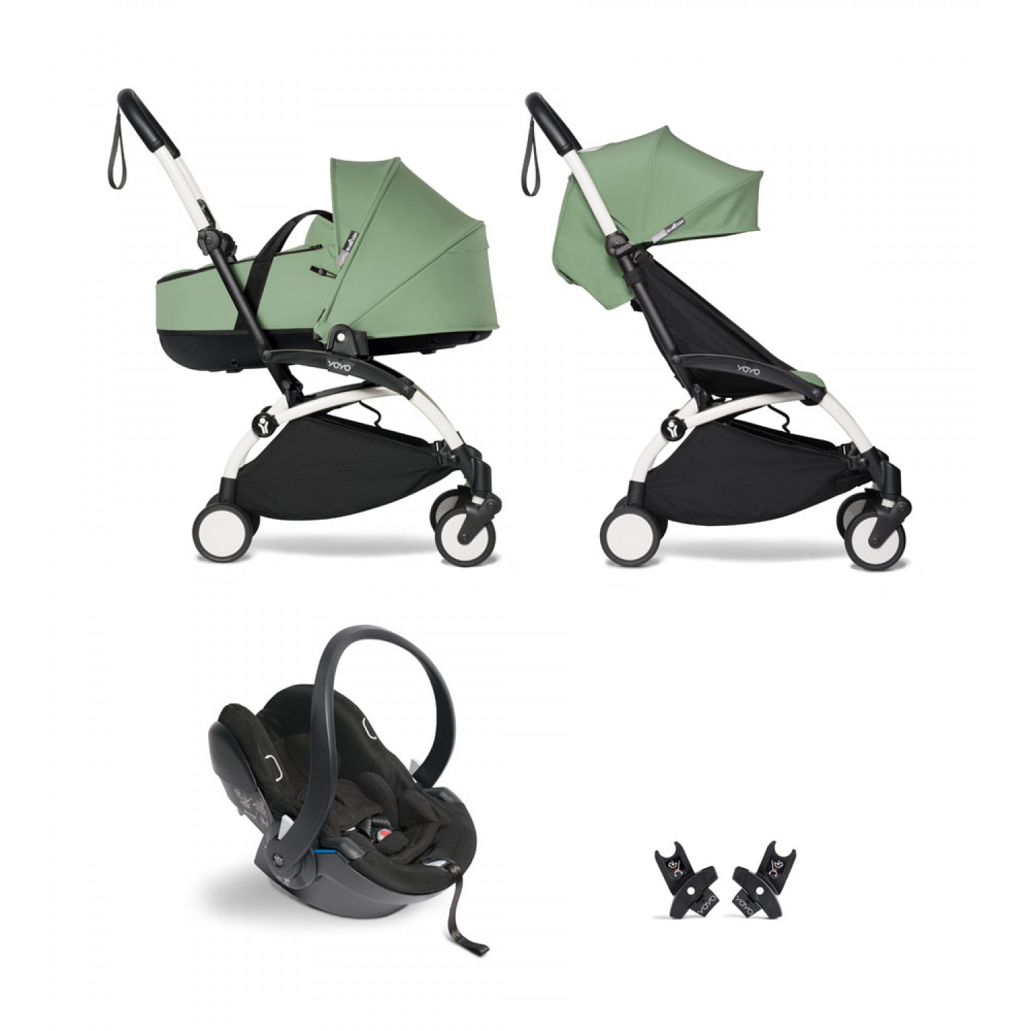 All-in-one BABYZEN stroller YOYO2 bassinet, car seat and 6+  White Frame | Peppermint