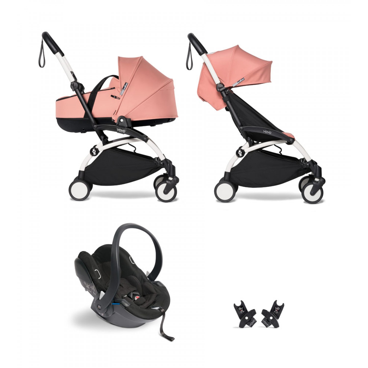 All-in-one BABYZEN stroller YOYO2 bassinet, car seat and 6+  White Frame   Ginger