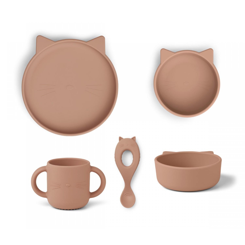 Vivi Silicone Tableware 4 pack - Baby | Cat dark rose