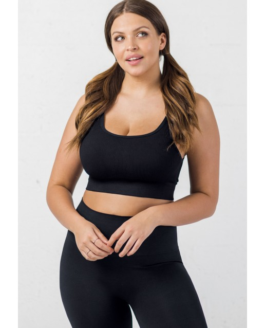 BLANQI® EVERYDAY™ RIBBED SEAMLESS BRALETTE | BLACK