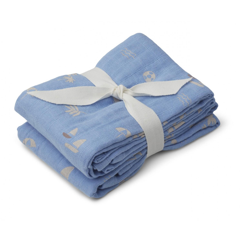 Lewis muslin cloth 2-pack  | Seaside sky blue