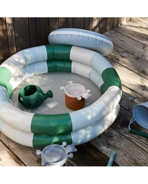 Leonore Pool - Stripe: Garden green/sandy/dove blue