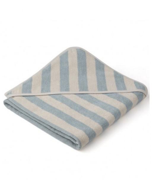 Louie Hooded Junior Towel - Y/D stripe: Sea blue/sandy