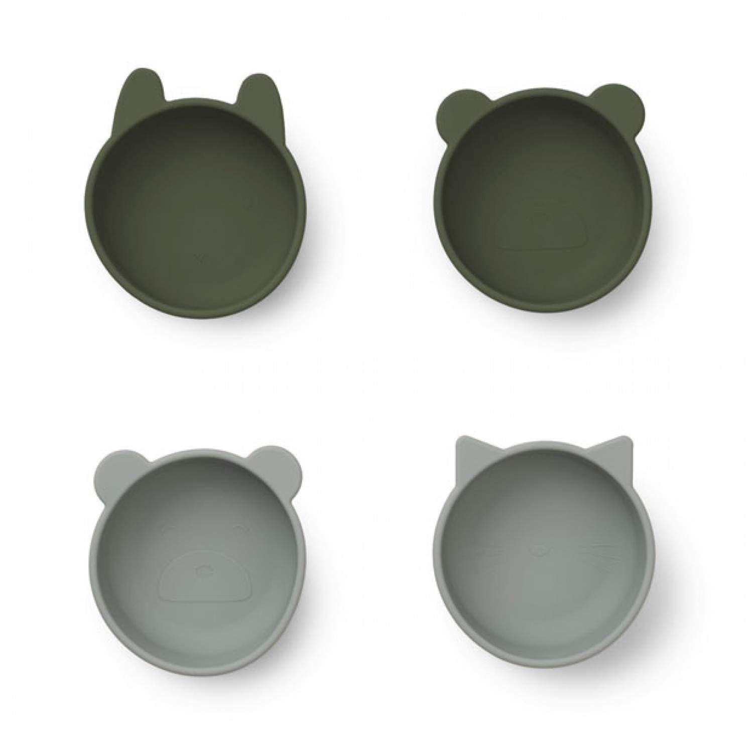 Iggy Silicone Bowls 4 Pack |  Hunter green mix
