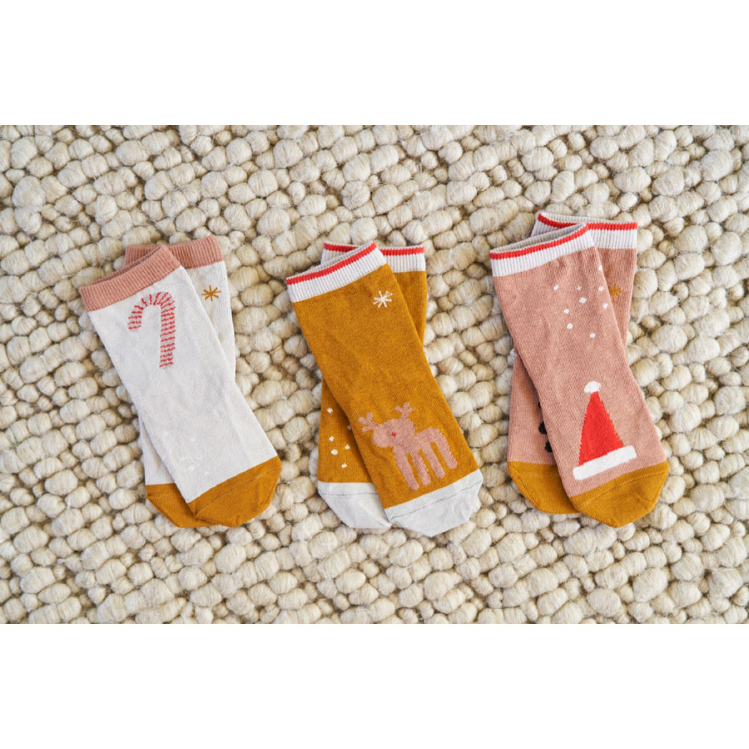 Silas Cotton Socks 3 Pack - Holiday tuscany rose multi mix