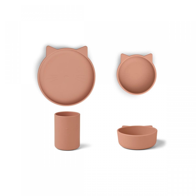 Cyrus Silicone Tableware 3 pack | Junior | Cat dark rose