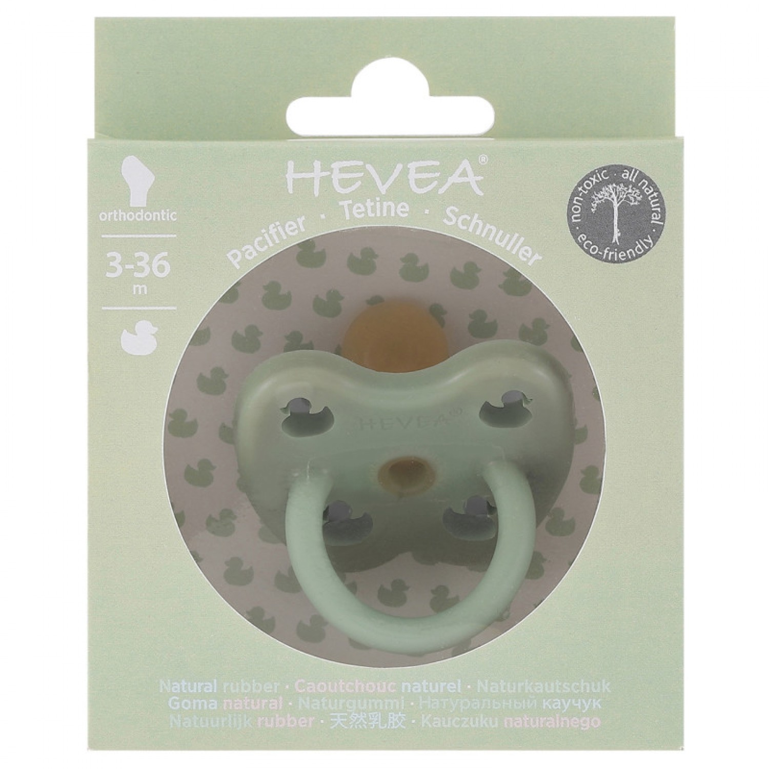 HEVEA ORTHODONTIC PACIFIER | MOSS GREEN  3-36 MONTHS