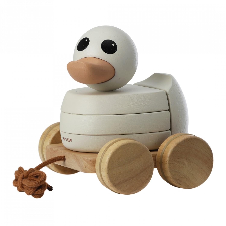 Kawan rubberwood stacker & pull toy