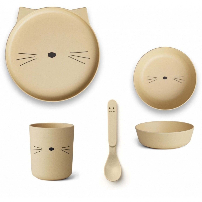 Bamboo Set | Cat Smoothie Yellow