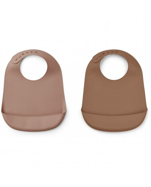TILDA SILICONE BIB - 2 PACK - DARK ROSE/TERRACOTTA