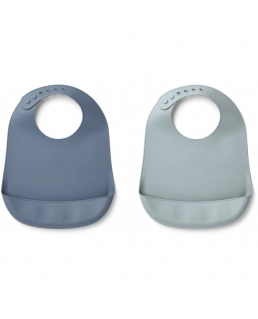 TILDA SILICONE BIB - 2 PACK - BLUE WAVE/SEA BLUE