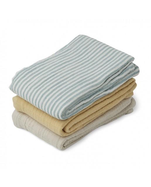 Muslin Cloth Line - 3 Pack | Sea Blue/Stripe Mix