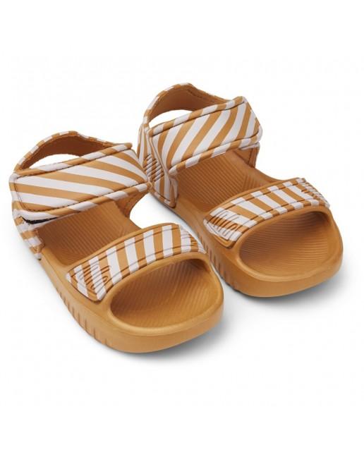 Blumer Sandals | Stripe: Mustard/Creme de la crem