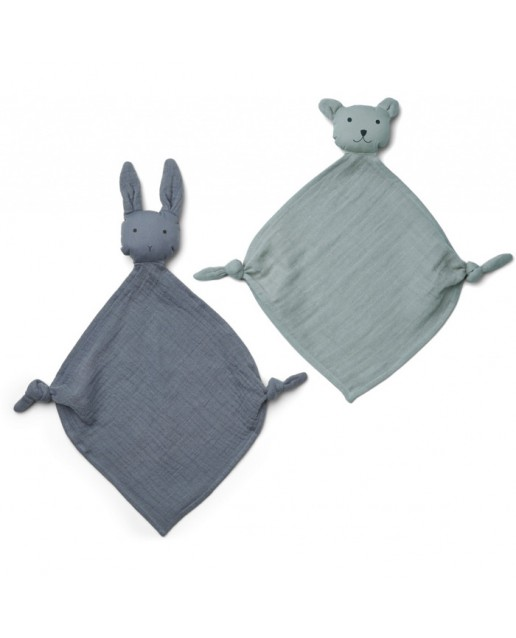 Yoko Mini Cuddle Cloth 2 Pack - Blue mix
