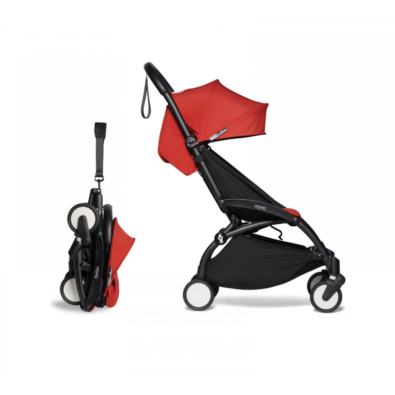 Complete BABYZEN stroller YOYO2  0+ and 6+ | Black Chassis Red