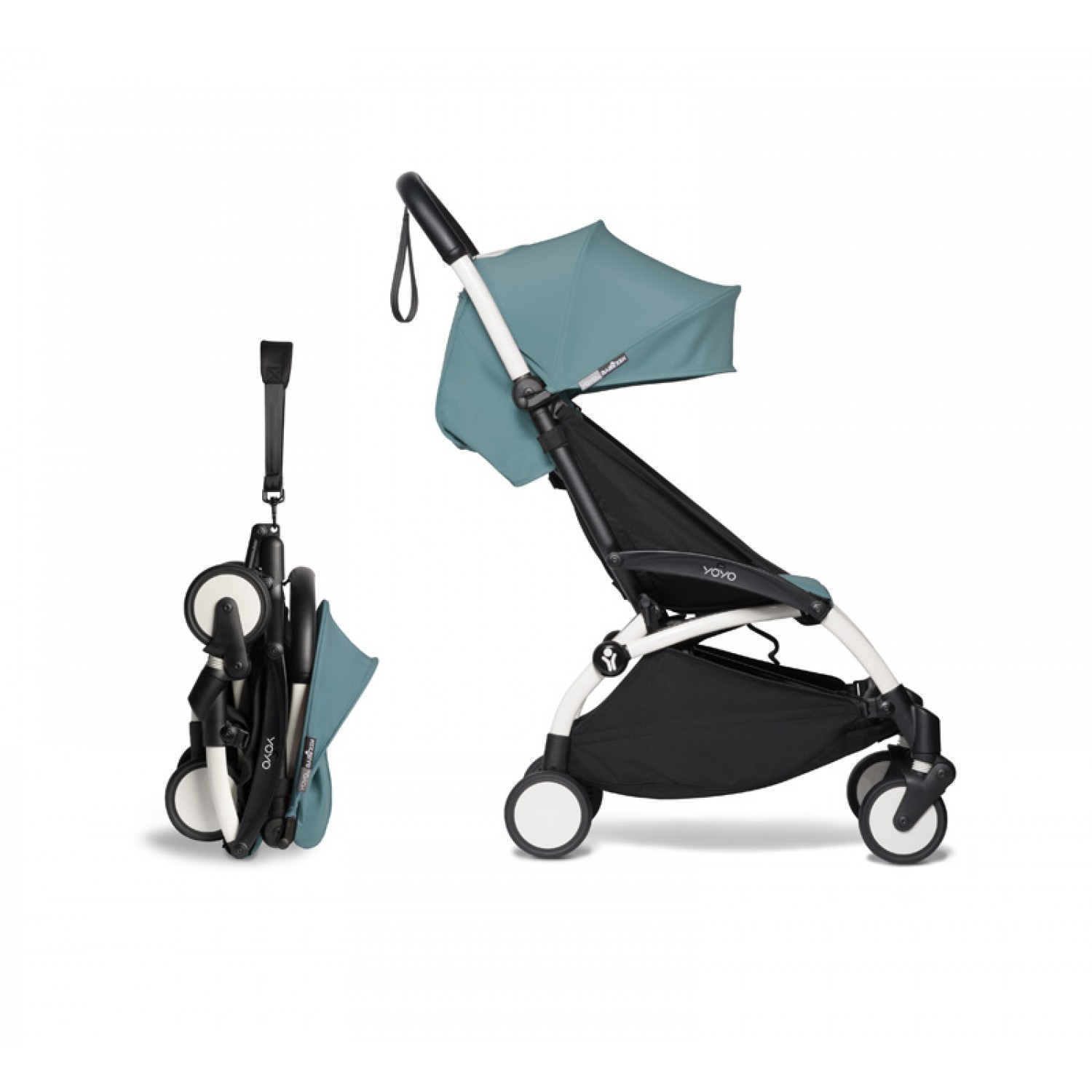 Complete BABYZEN stroller YOYO2  0+ and 6+ | White Chassis Aqua