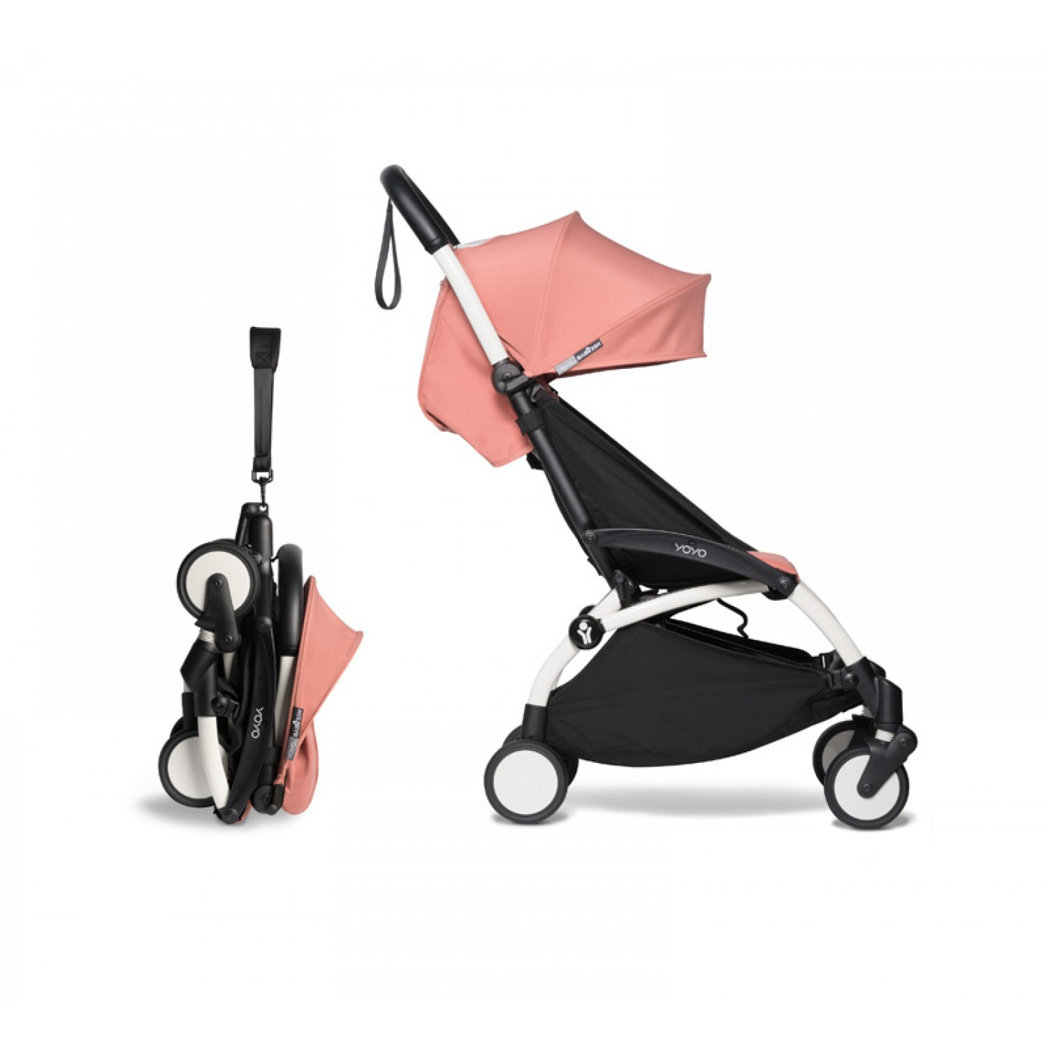 Complete BABYZEN stroller YOYO2  0+ and 6+   White Chassis Ginger