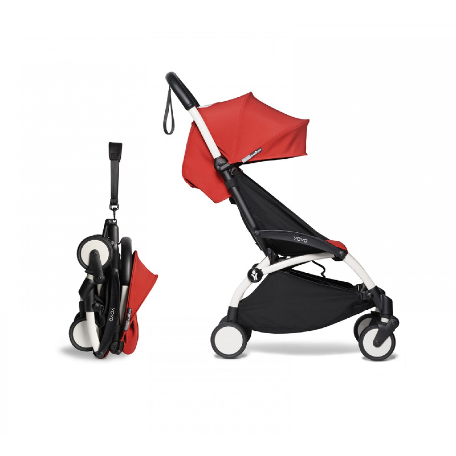 Complete BABYZEN stroller YOYO2  0+ and 6+ | White Chassis Red