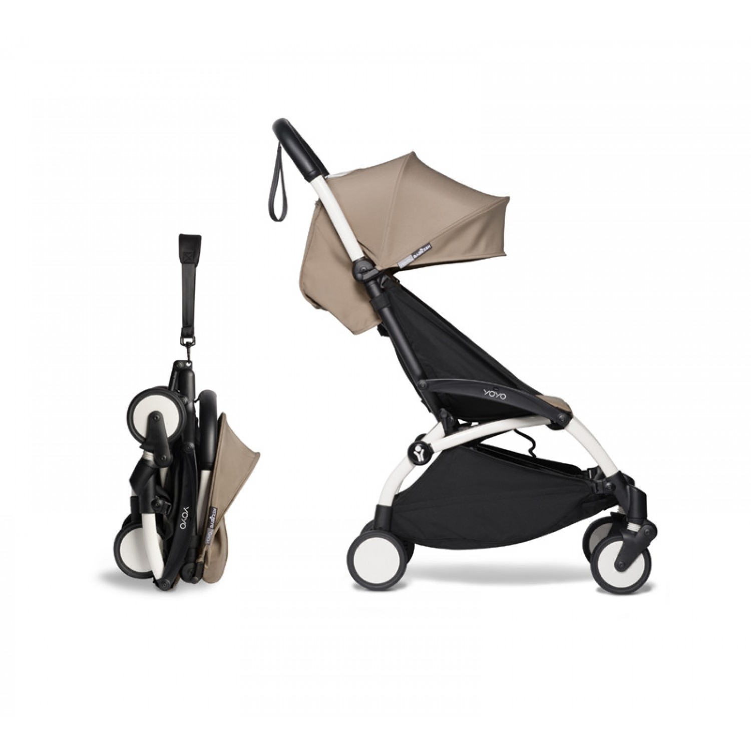 Complete BABYZEN stroller YOYO2  0+ and 6+ | White Chassis Taupe