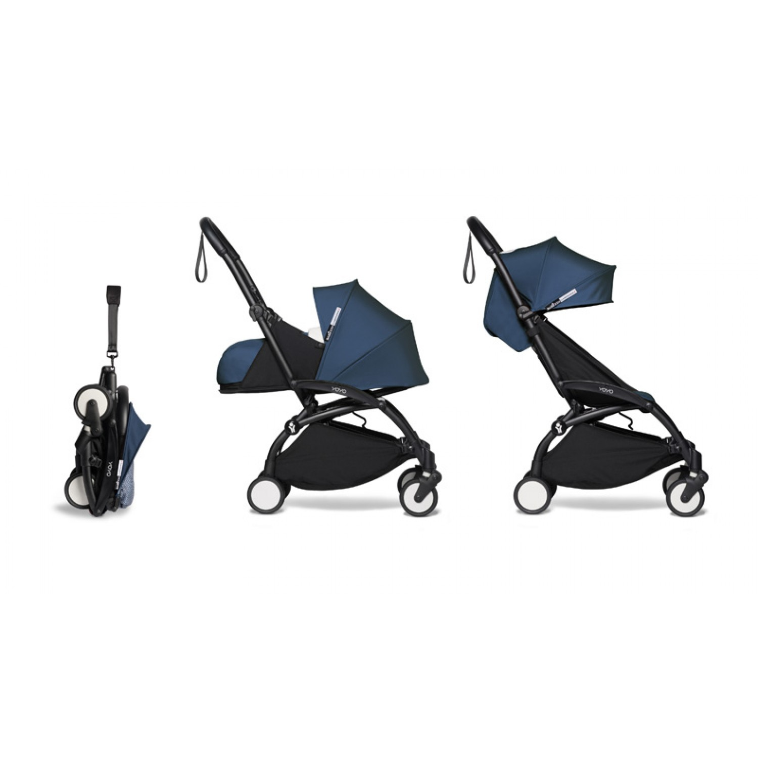 Complete BABYZEN stroller YOYO2  0+ and 6+ | Black Chassis Air France