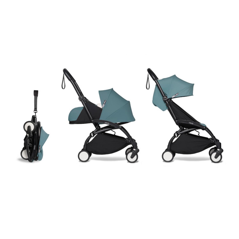 Complete BABYZEN stroller YOYO2  0+ and 6+   Black Chassis Aqua