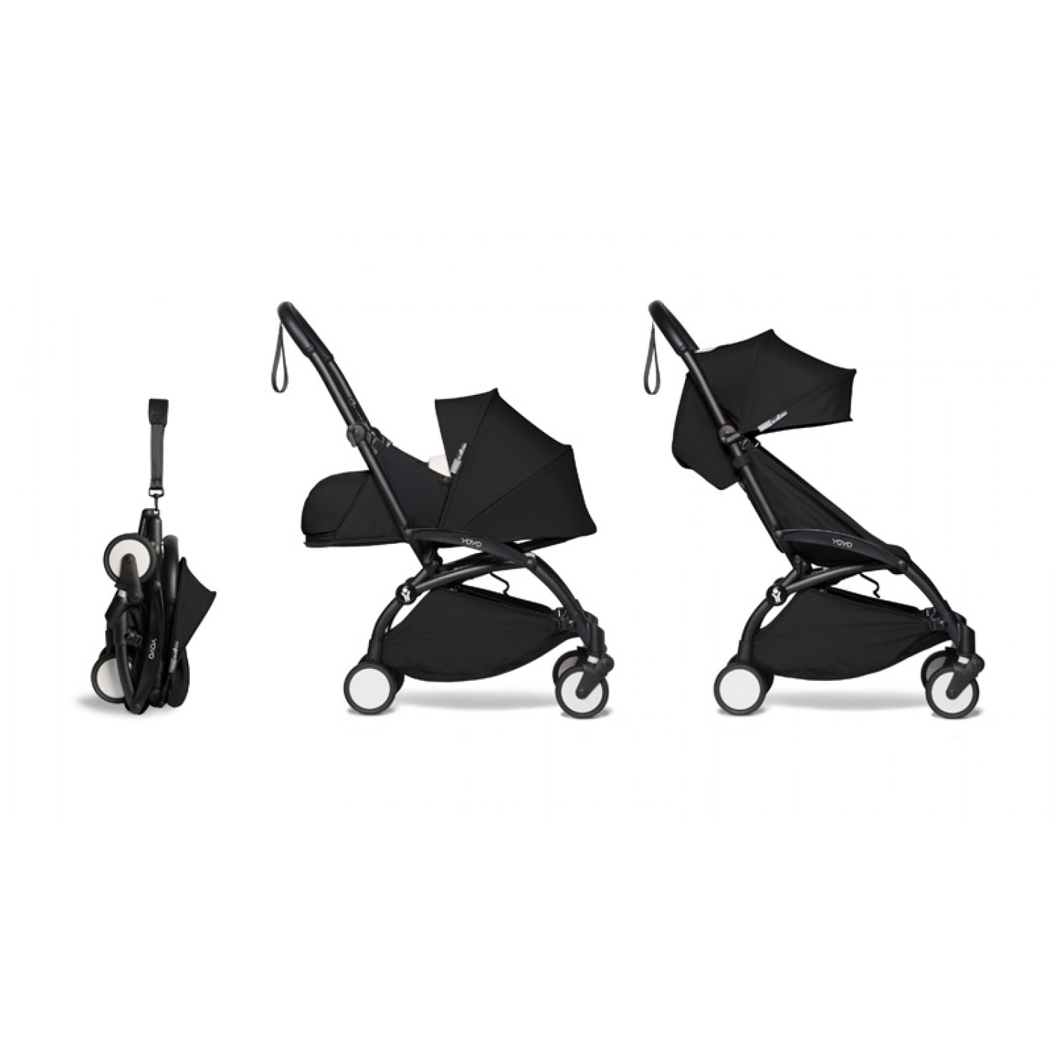 Complete BABYZEN stroller YOYO2  0+ and 6+ | Black Chassis Black