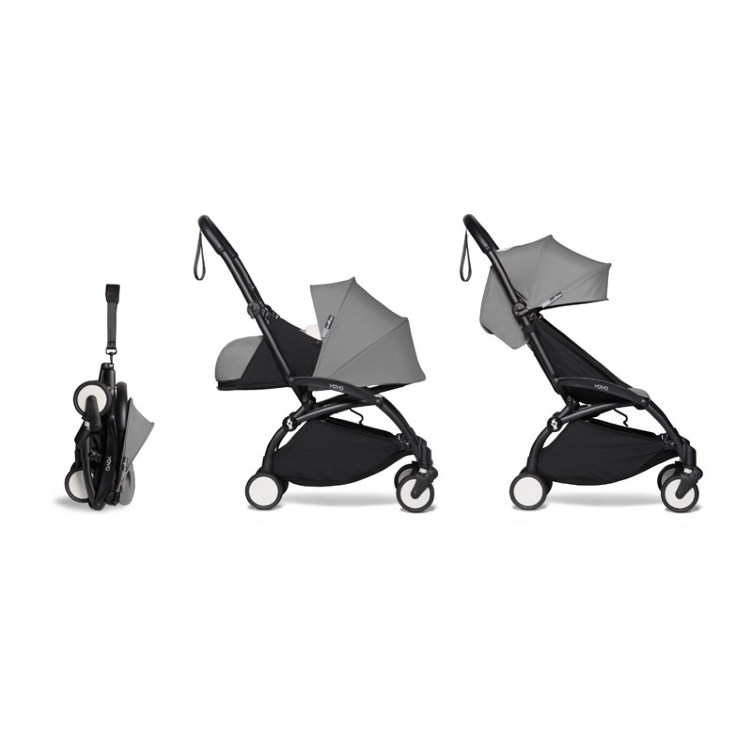 Complete BABYZEN stroller YOYO2  0+ and 6+ | Black Chassis Grey