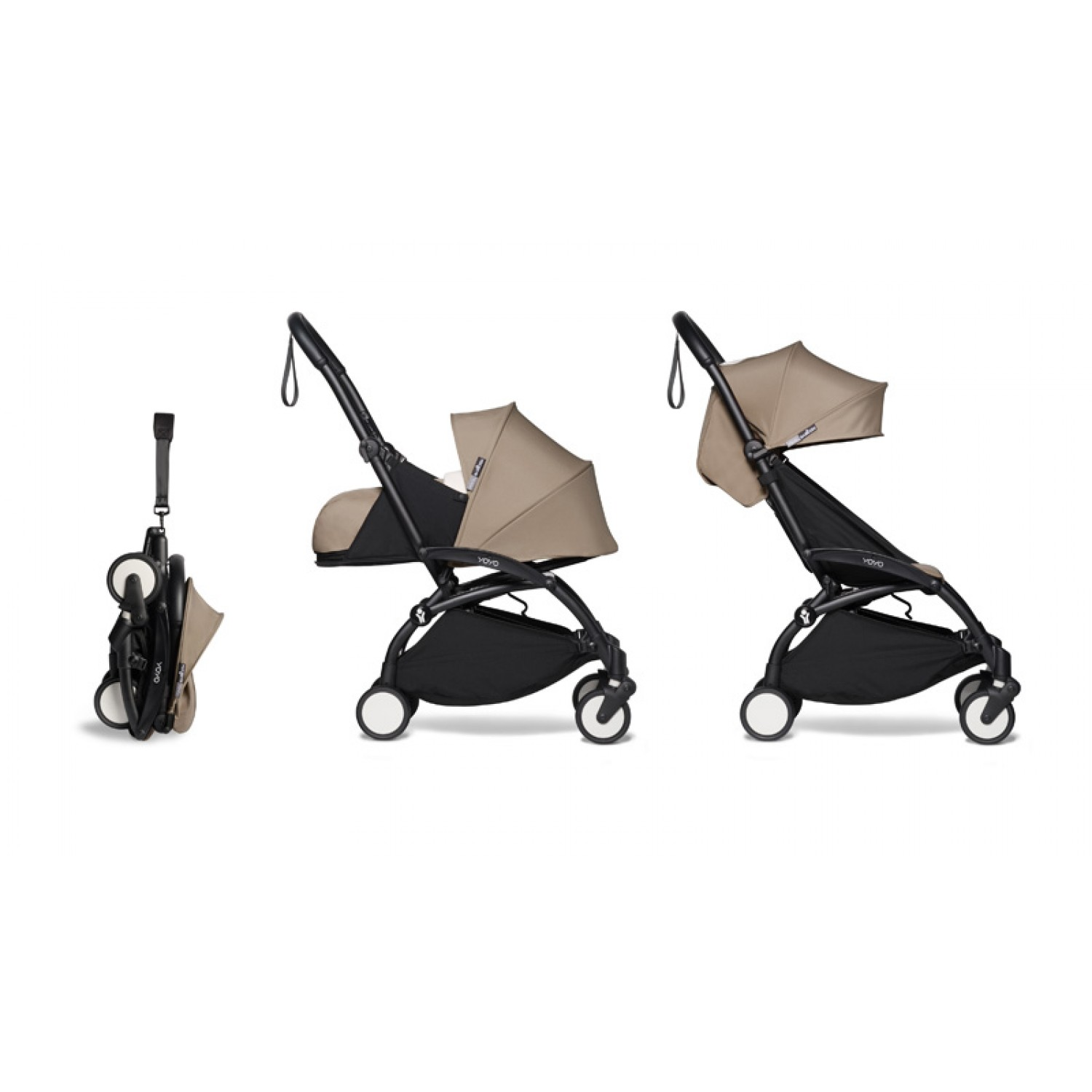 Complete BABYZEN stroller YOYO2  0+ and 6+ | Black Chassis Taupe