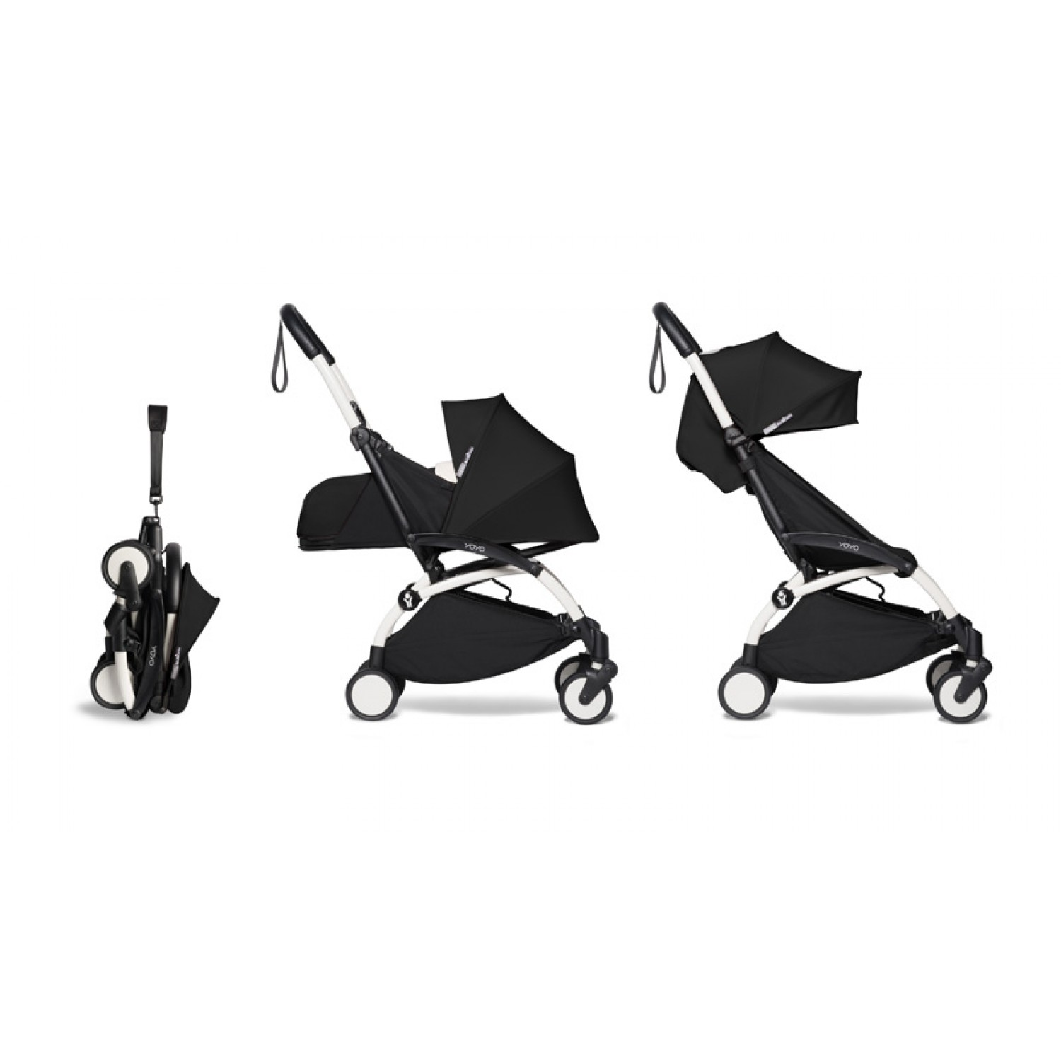 Complete BABYZEN stroller YOYO2  0+ and 6+ | White Chassis Black