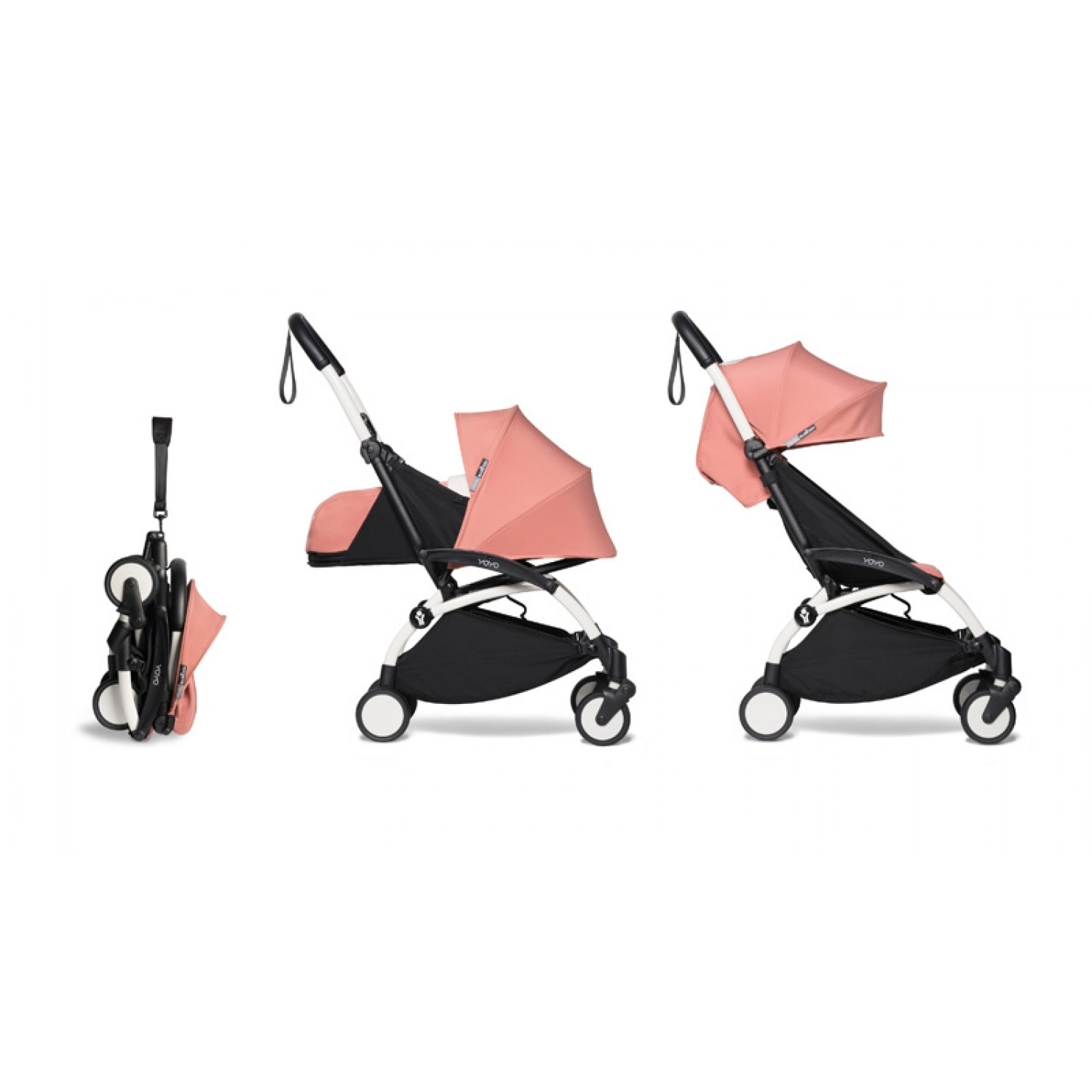 Complete BABYZEN stroller YOYO2  0+ and 6+ | White Chassis Ginger