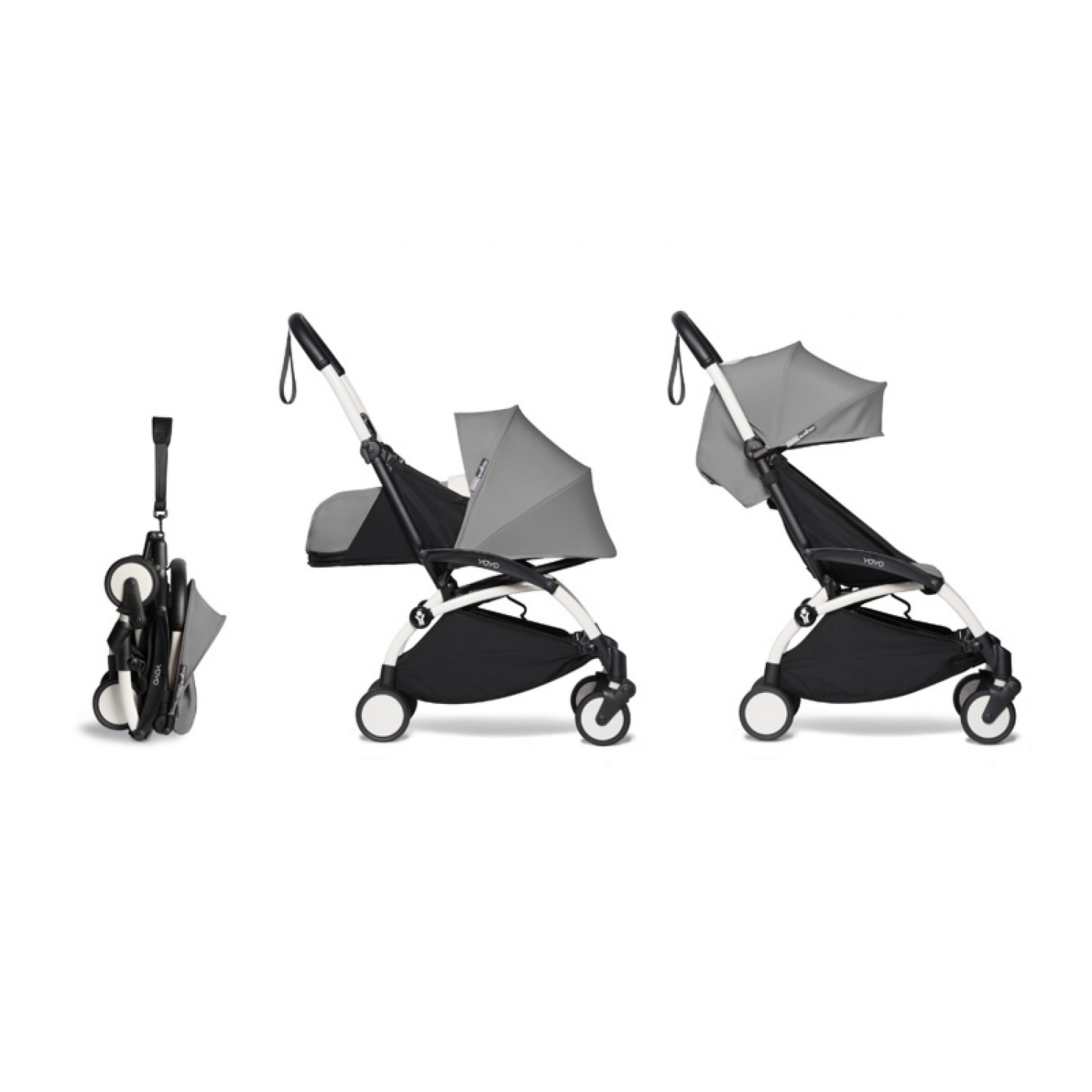 Complete BABYZEN stroller YOYO2  0+ and 6+ | White Chassis Grey