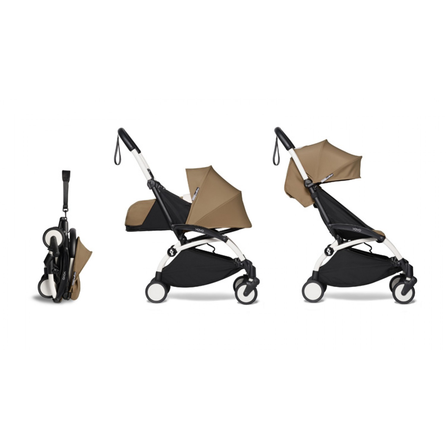Complete BABYZEN stroller YOYO2  0+ and 6+ | White Chassis Toffee