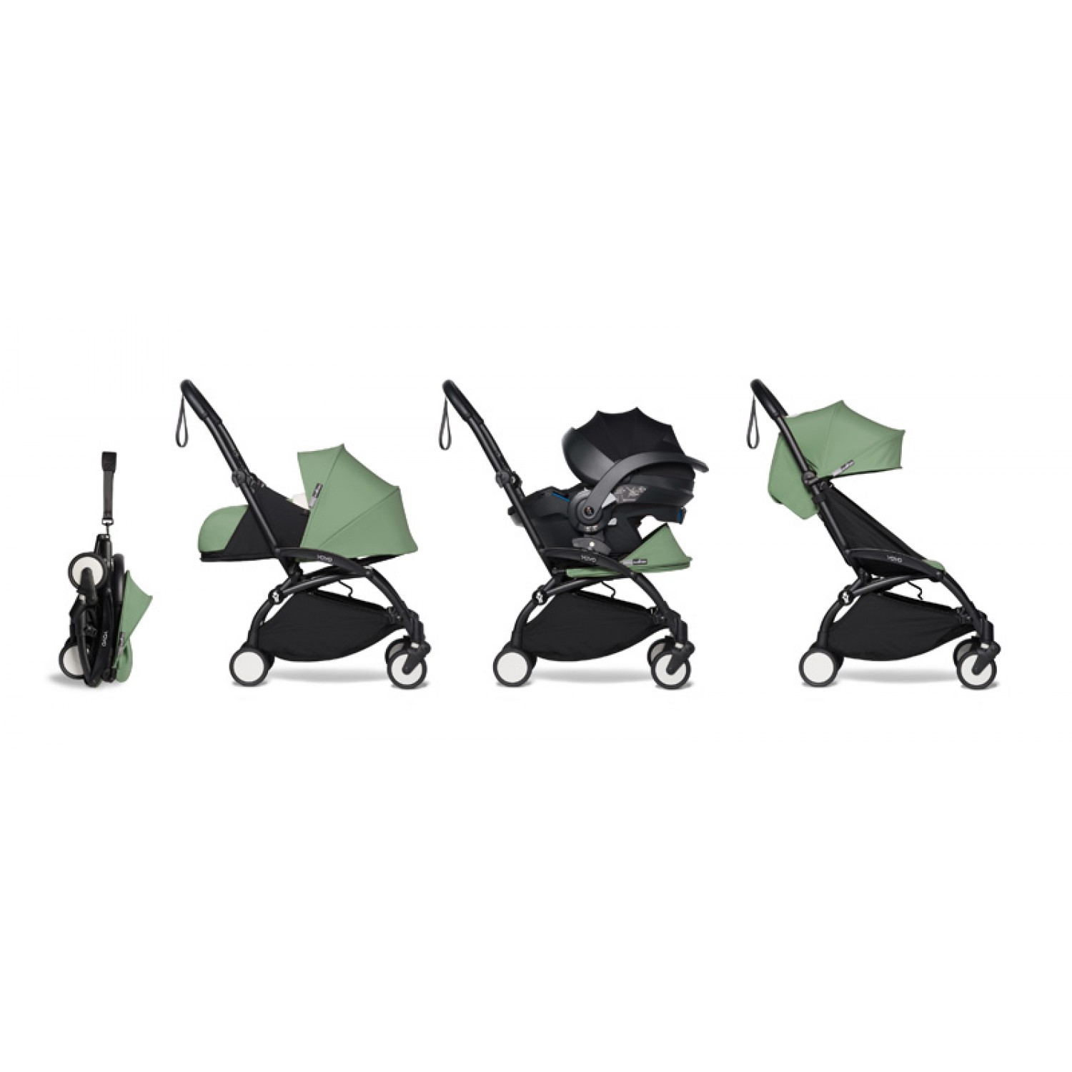 All-in-one BABYZEN stroller YOYO2 0+, car seat and 6+  | Black Chassis Peppermint