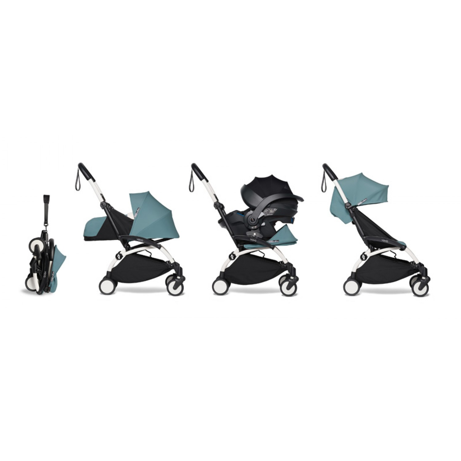 All-in-one BABYZEN stroller YOYO2 0+, car seat and 6+ | White Chassis Aqua